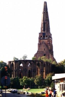 Ruina Kościoła Mariackiego od strony północno-wschodniej 1987